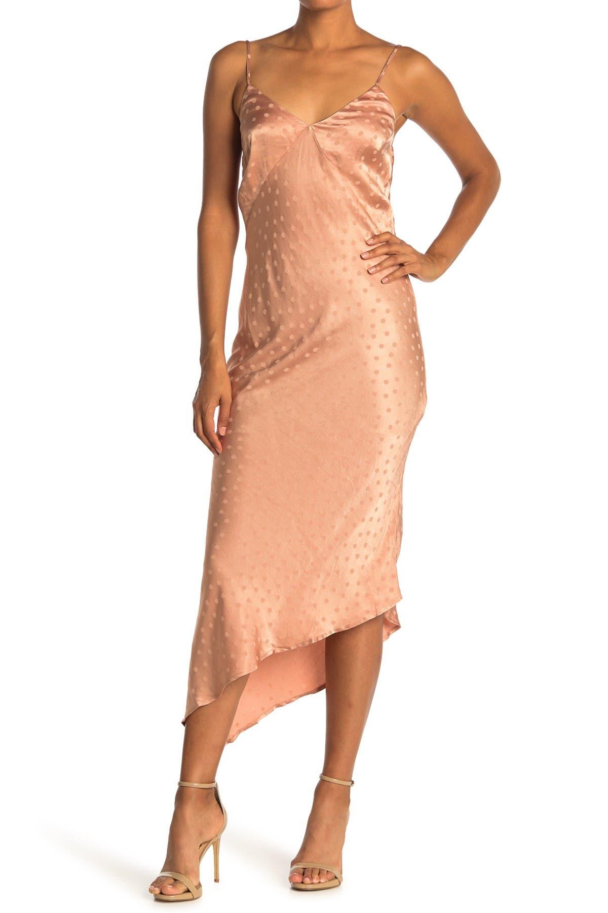 Image of Love Stitch Polka Dot Asymmetrical Midi Dress