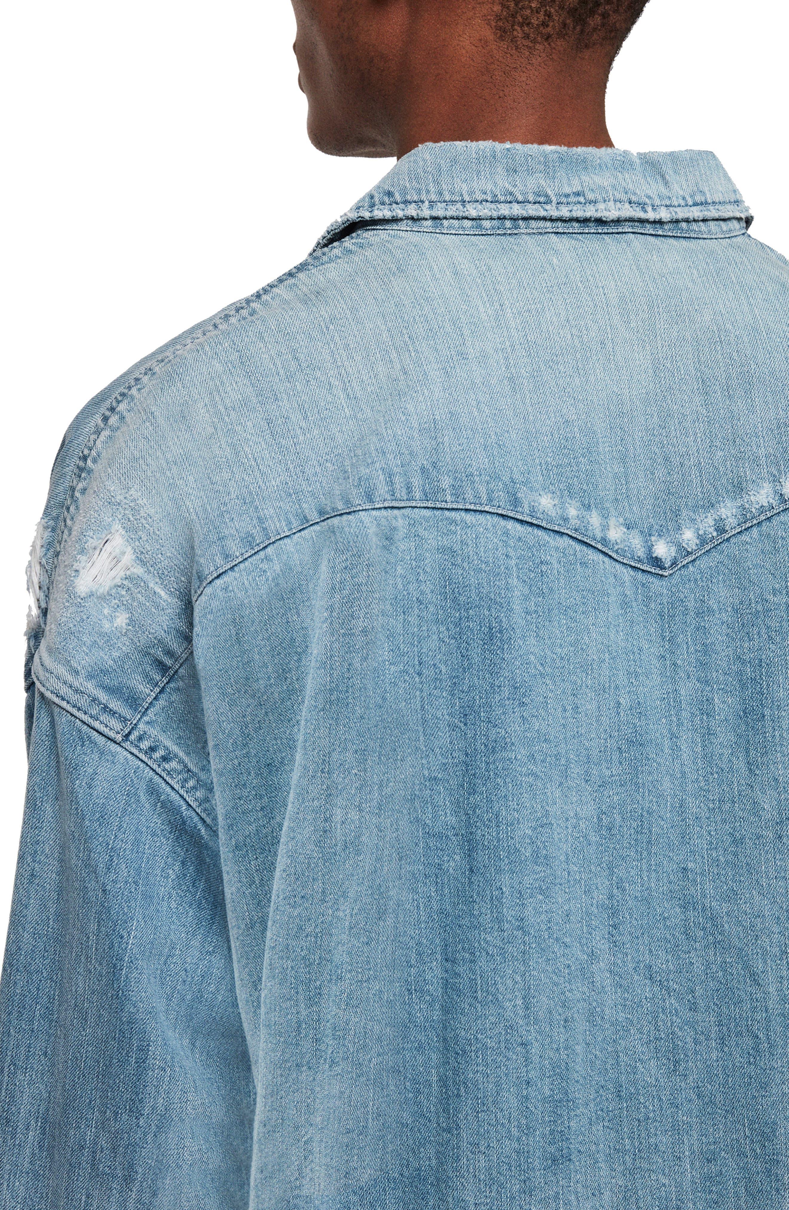 ,                             Intor Oversize Denim Shirt,                             Alternate thumbnail 4, color,                             INDIGO BLUE