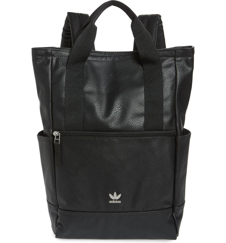 ADIDAS ORIGINALS Tote Pack III Faux Leather Backpack, Main, color, 001