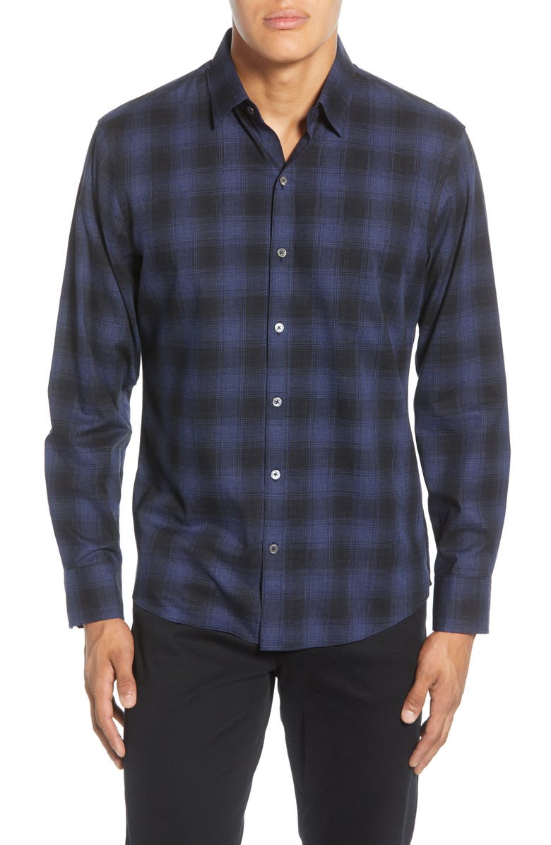 ZACHARY PRELL Frederick Regular Fit Plaid Button-Up Sport Shirt, Main, color, NAVY