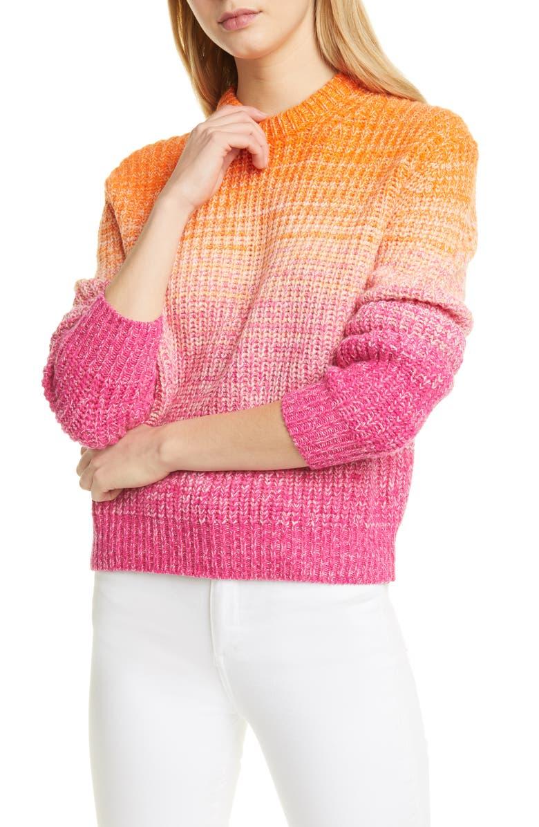 POLO RALPH LAUREN Ombré Wool & Cashmere Blend Sweater, Main, color, PINK/ ORANGE MULTI