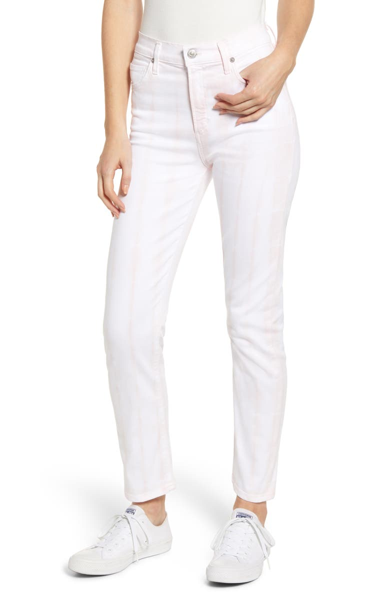 CITIZENS OF HUMANITY Harlow High Waist Ankle Slim Jeans, Main, color, ROSEWATER TIE DYE