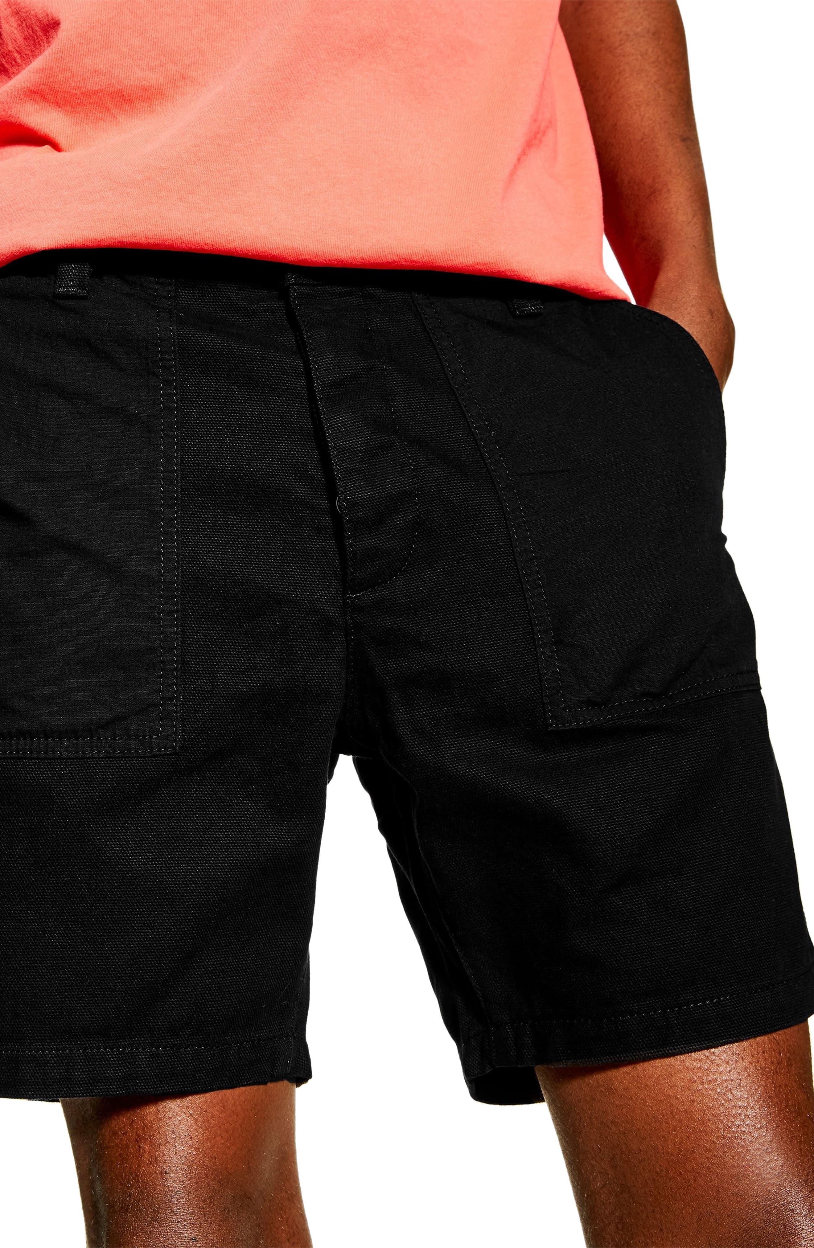 ,                             Slim Fit Utility Shorts,                             Alternate thumbnail 3, color,                             BLACK