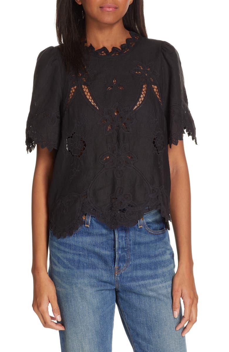 REBECCA TAYLOR Terri Embroidered Linen Top, Main, color, BLACK