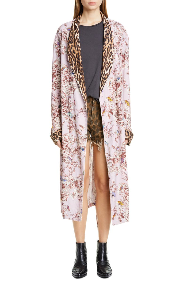 R13 Mixed Print Smoking Robe, Main, color, PALE PINK FLORAL W/ LEOPARD