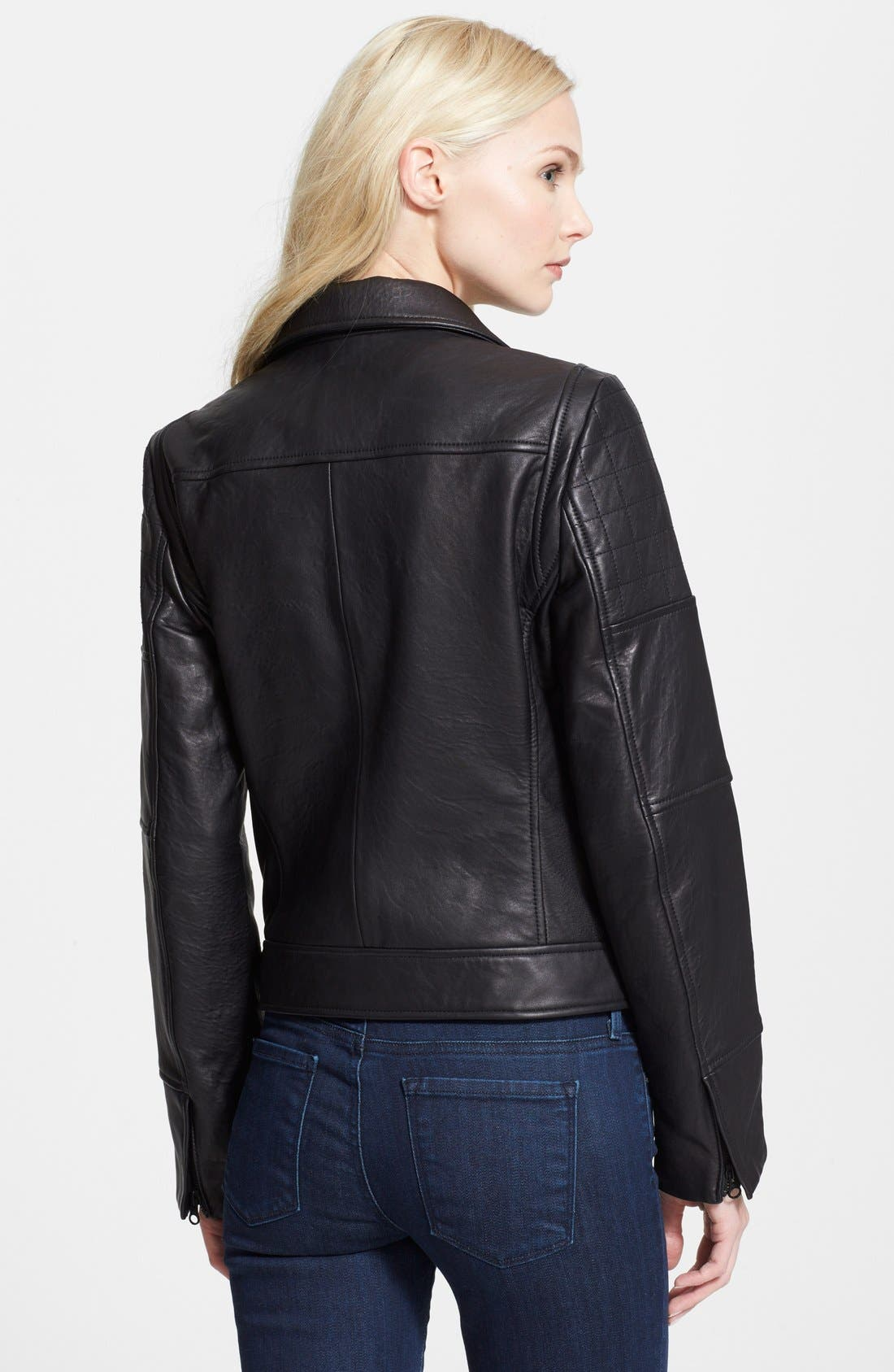 ,                             'RPM' Leather Moto Jacket,                             Alternate thumbnail 3, color,                             001