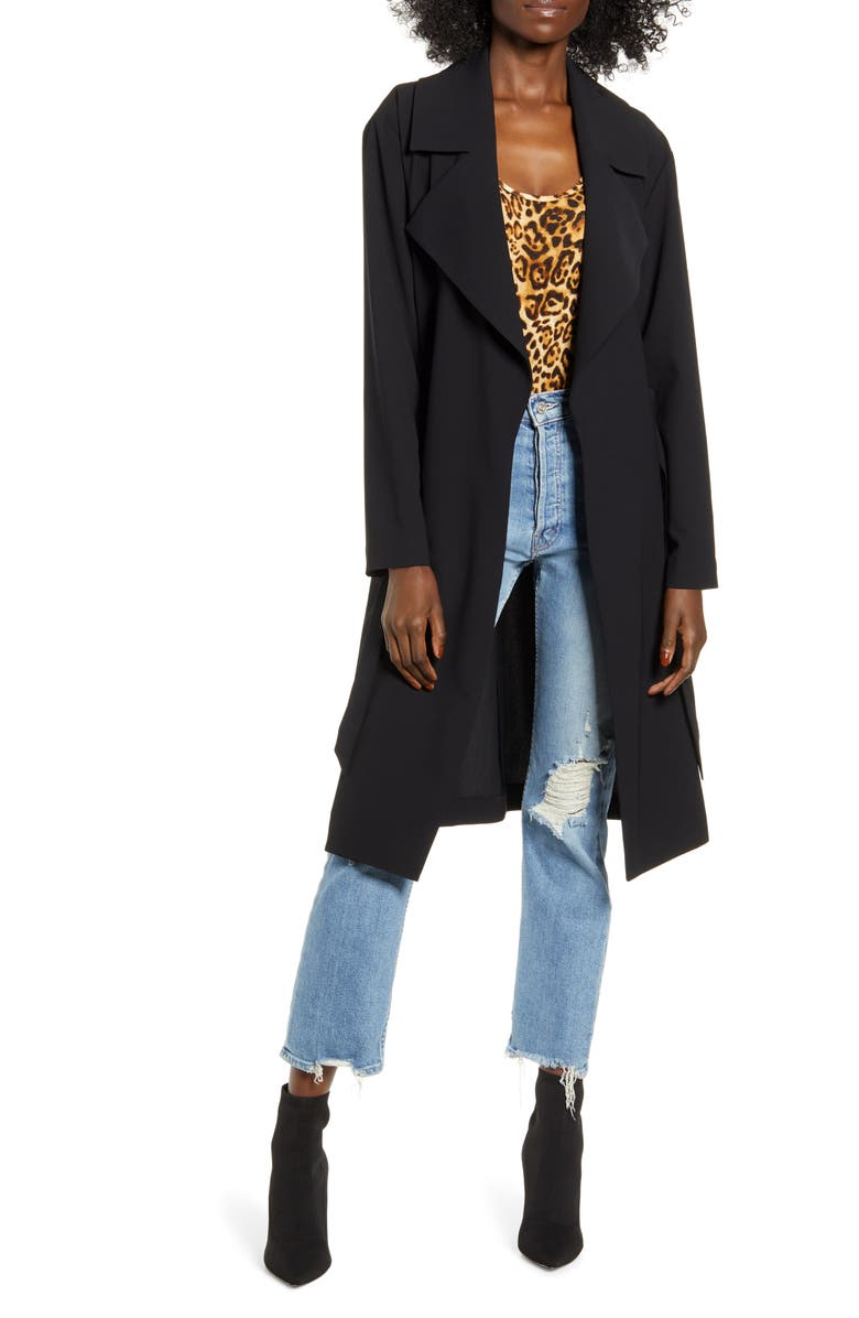 LEITH Relaxed Soft Trench Coat, Main, color, 001