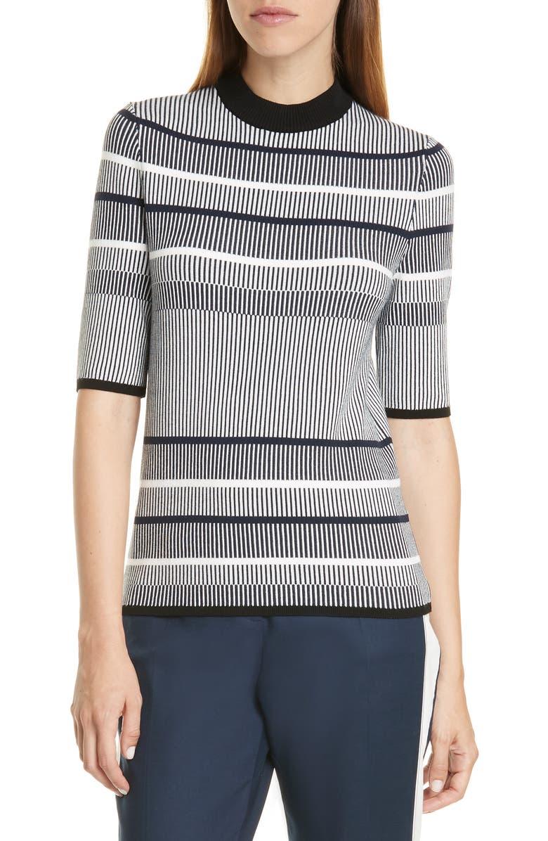 HUGO Saweryna Stripe Top, Main, color, CLEAN NAVY FANTASY