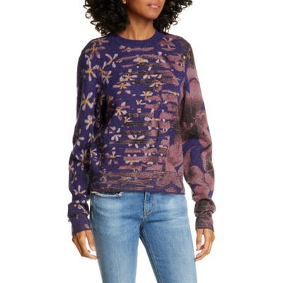 Rag & Bone Alamo Mixed Floral Jacquard Wool Blend Sweater, Purple