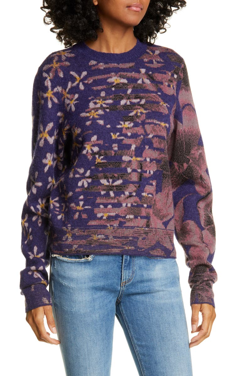 RAG & BONE Alamo Mixed Floral Jacquard Wool Blend Sweater, Main, color, 505