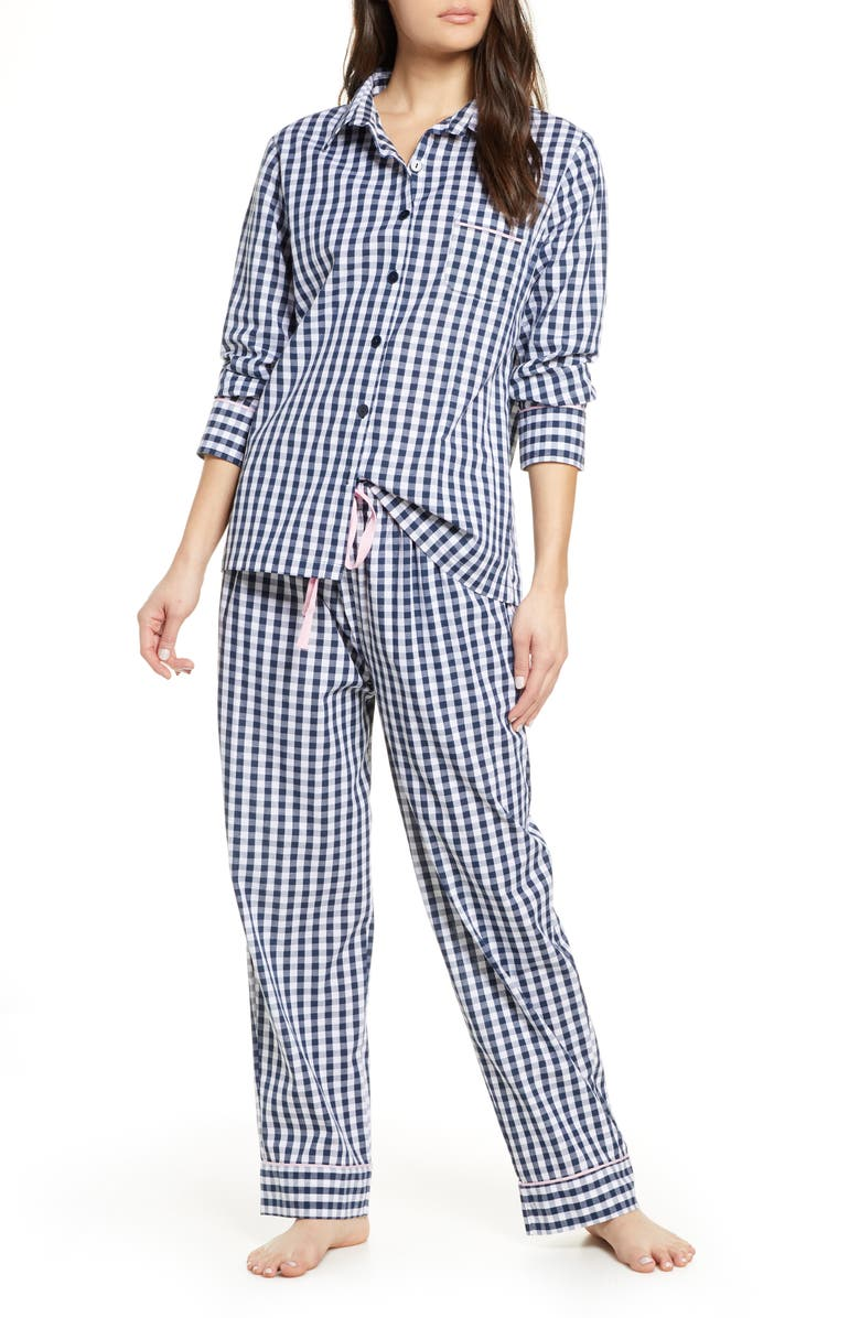 PROJECT REM Gingham Cotton Pajamas, Main, color, NAVY GINGHAM