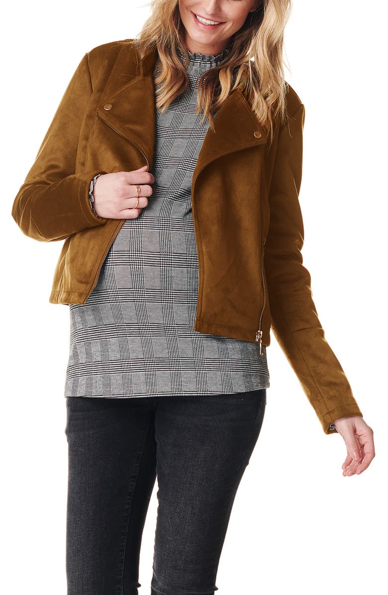 NOPPIES Faux Suede Maternity Moto Jacket, Main, color, CAMEL
