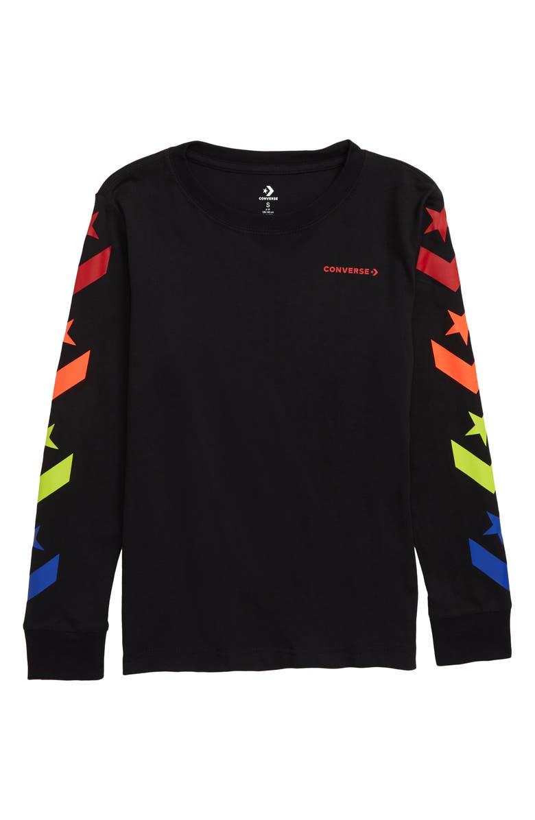 CONVERSE Star Chevron Long Sleeve T-Shirt, Main, color, 009