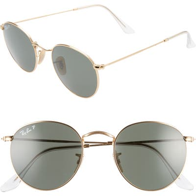 Ray-Ban 50Mm Retro Inspired Round Metal Sunglasses - Gold/ Polar Green