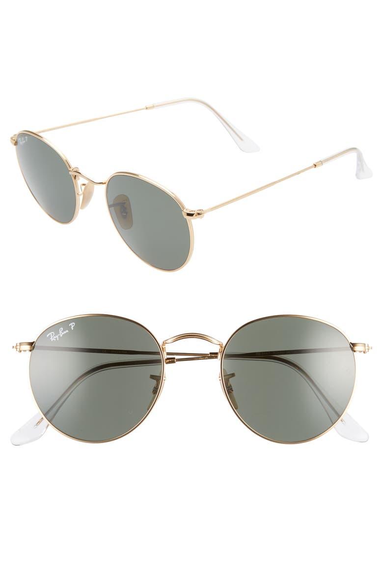 RAY-BAN 50mm Retro Inspired Round Metal Sunglasses, Main, color, GOLD/ POLAR GREEN