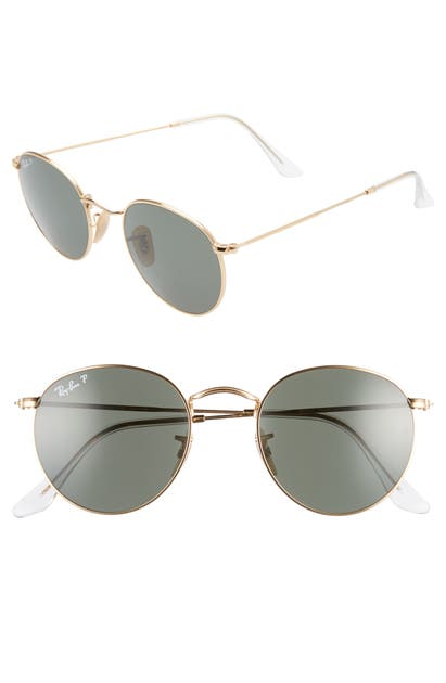 Ray Ban 50mm Retro Inspired Round Metal Sunglasses In Gold/ Polar Green