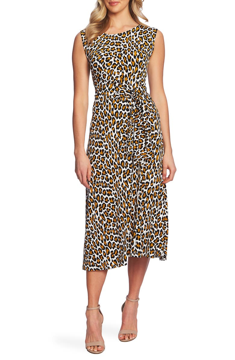 Chaus Wildcat Ruched Detail Sleeveless Midi Dress