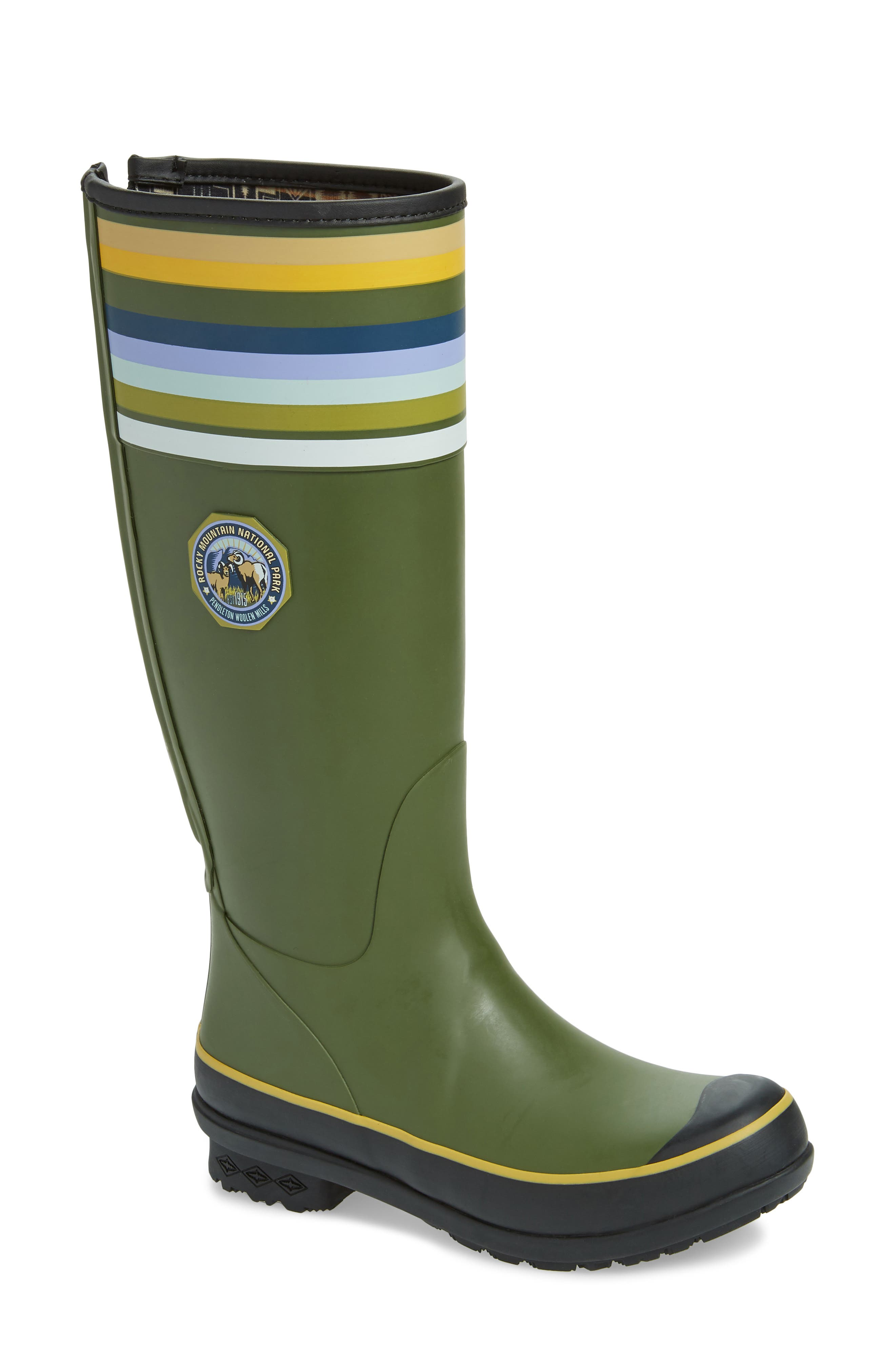Rocky Mountain National Park Tall Rain Boot, Main, color, OLIVE RUBBER