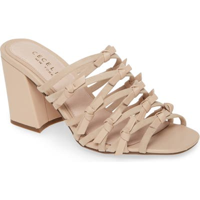 Cecelia New York Knotted Strappy Slide Sandal- Beige