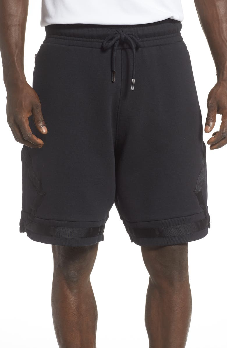 JORDAN Black Cat Fleece Basketball Shorts, Main, color, BLACK