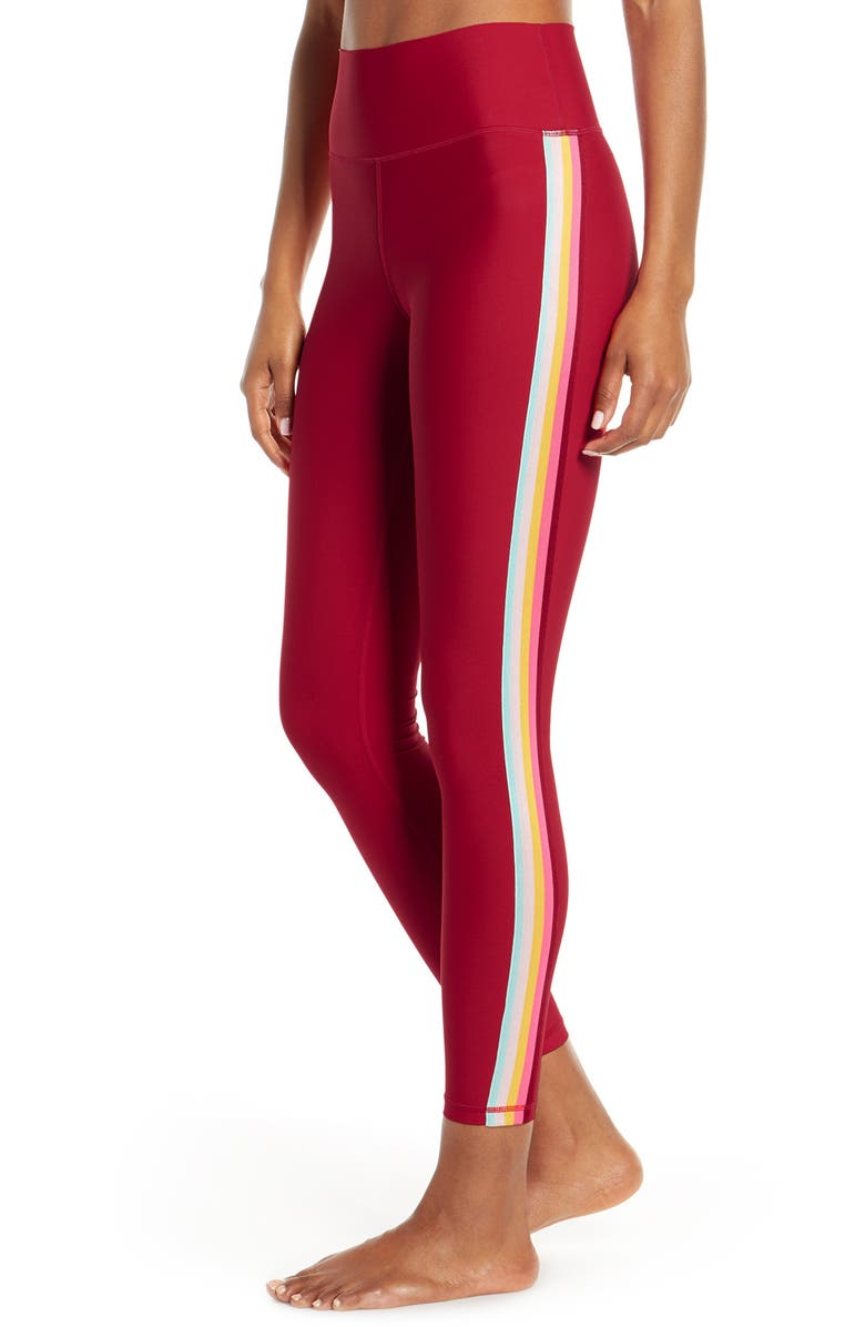 SPIRITUAL GANGSTER High Waist Striped 7/8 Leggings, Main, color, DAHLIA RED