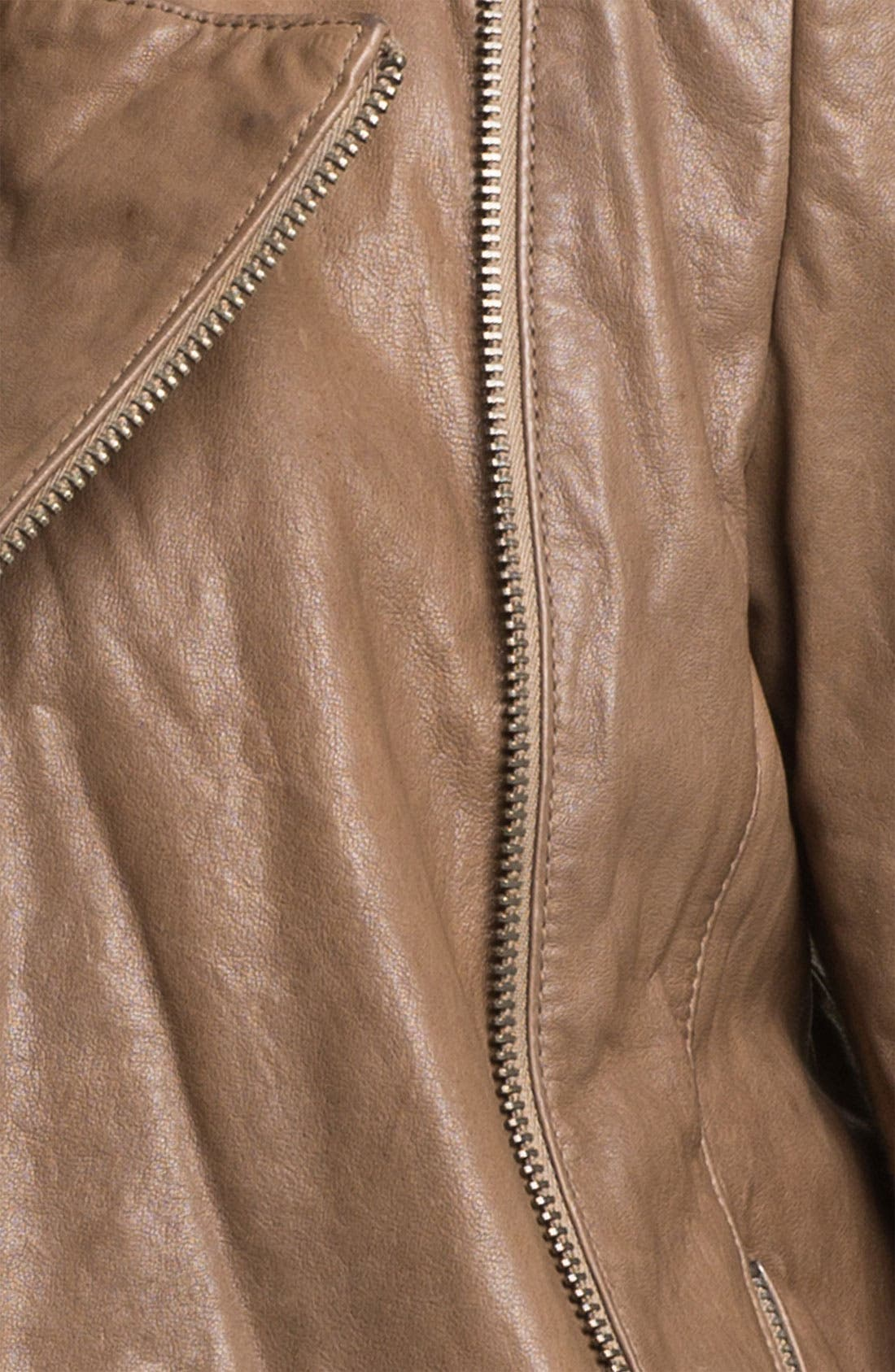,                             Leather Moto Jacket,                             Alternate thumbnail 3, color,                             250