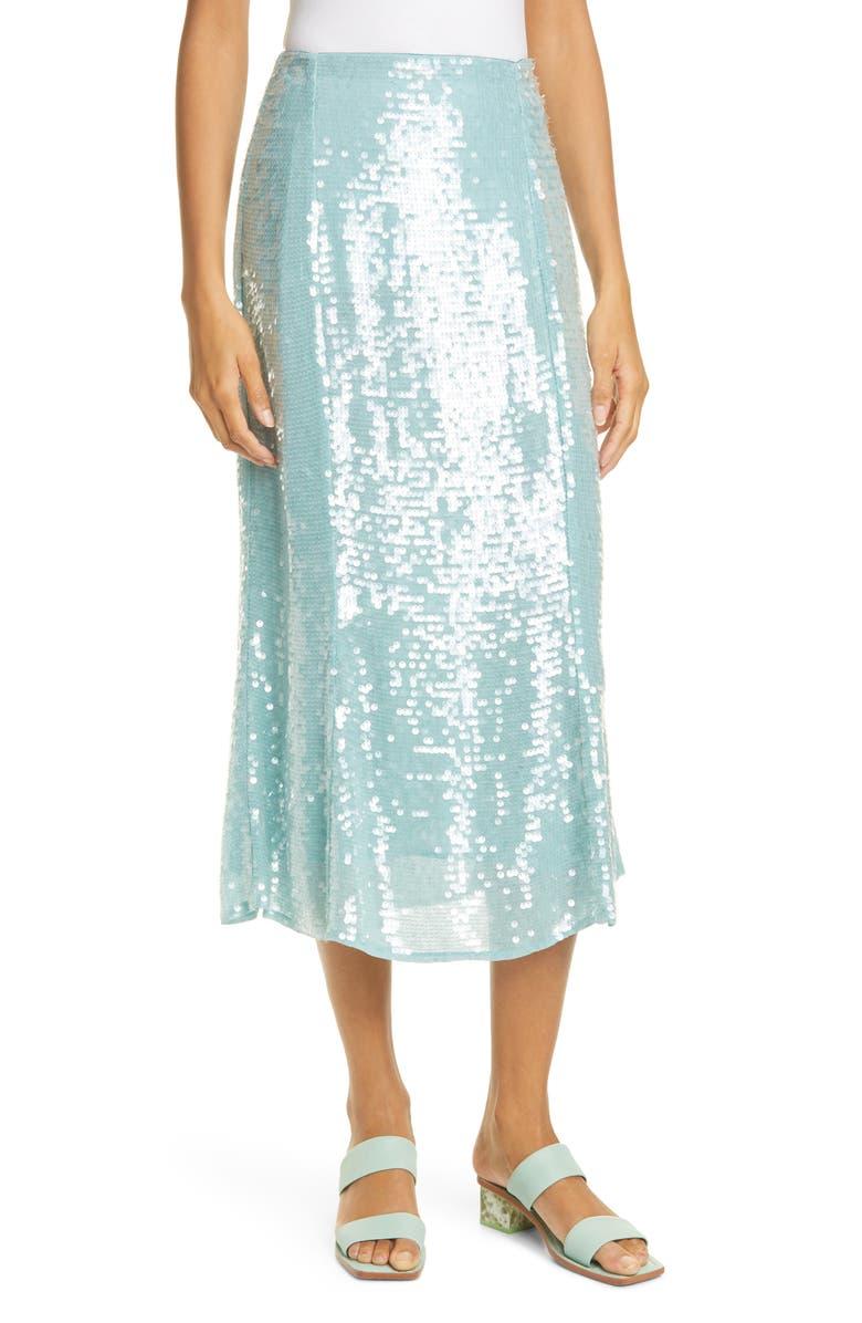 VERONICA BEARD Abigail Sequin Midi Skirt, Main, color, SEAGLASS