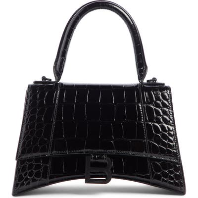 Balenciaga Extra Small Hourglass Croc Embossed Leather Top Handle Bag - Black