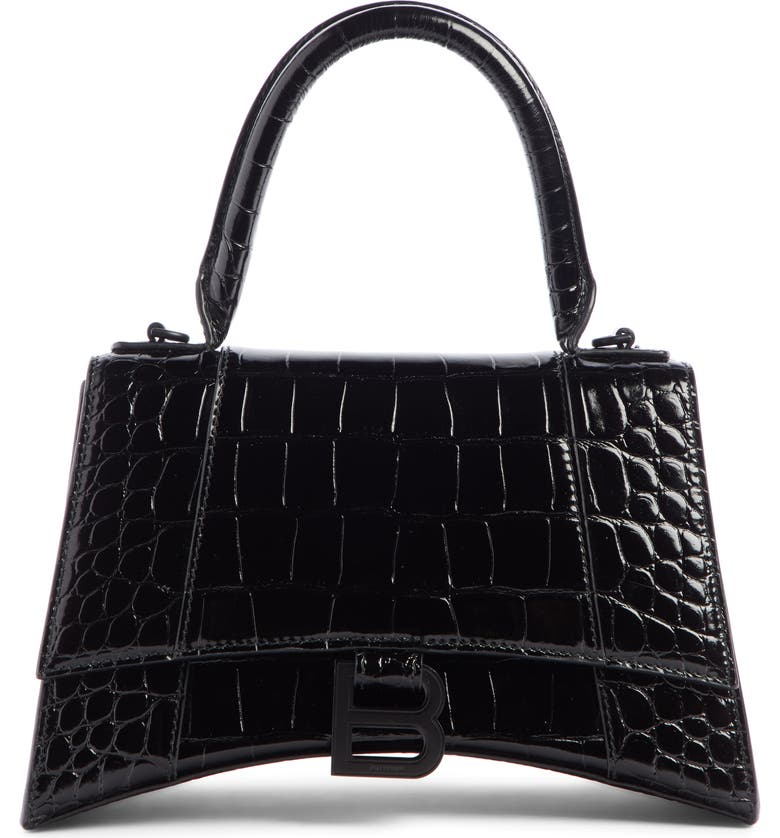 BALENCIAGA Extra Small Hourglass Croc Embossed Leather Top Handle Bag, Main, color, 001