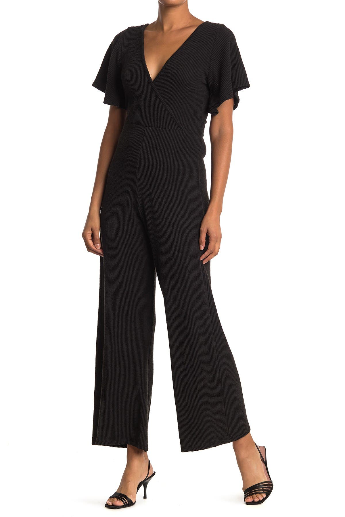 Image of Velvet Torch Ribbed Knit Kimono Jumpsuit