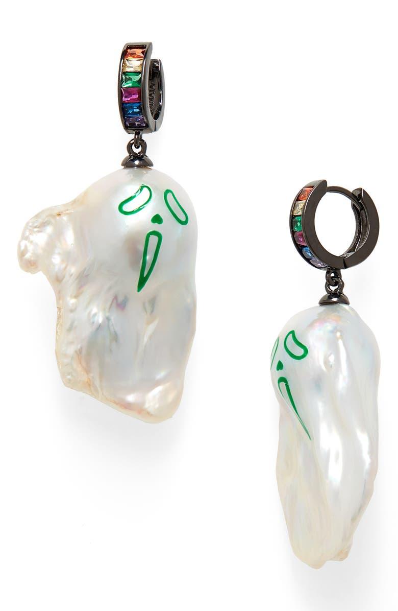JIWINAIA Urlo Rainbow Freshwater Pearl Earrings, Main, color, 040