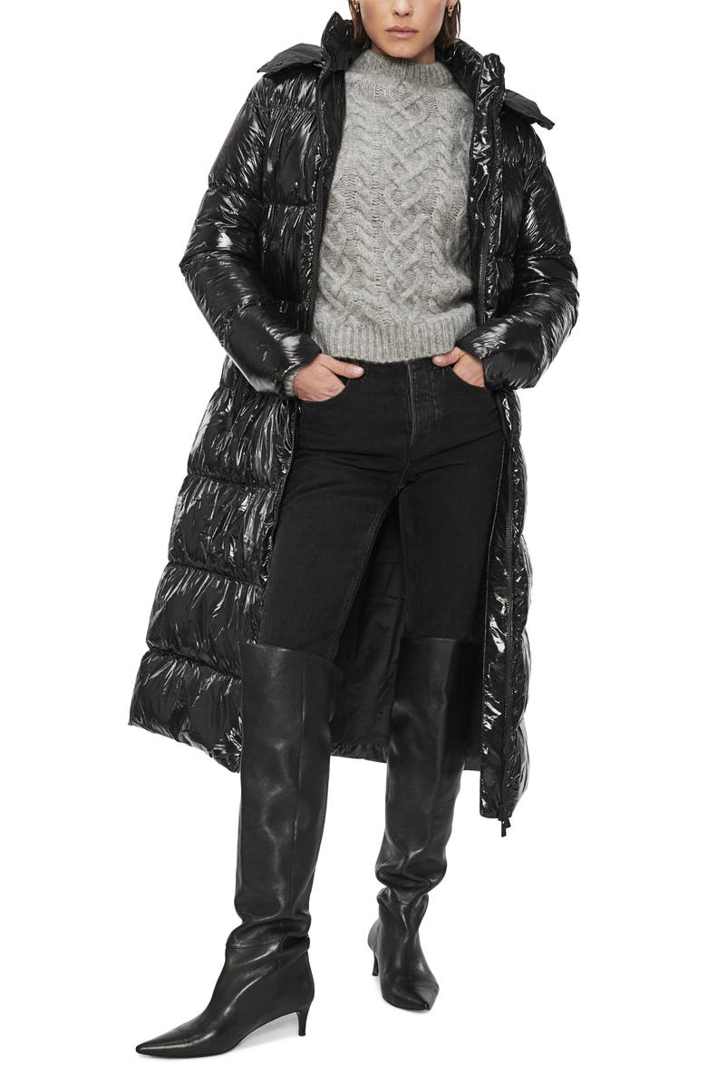 ANINE BING Mary Hooded Puffer Coat, Main, color, BLACK
