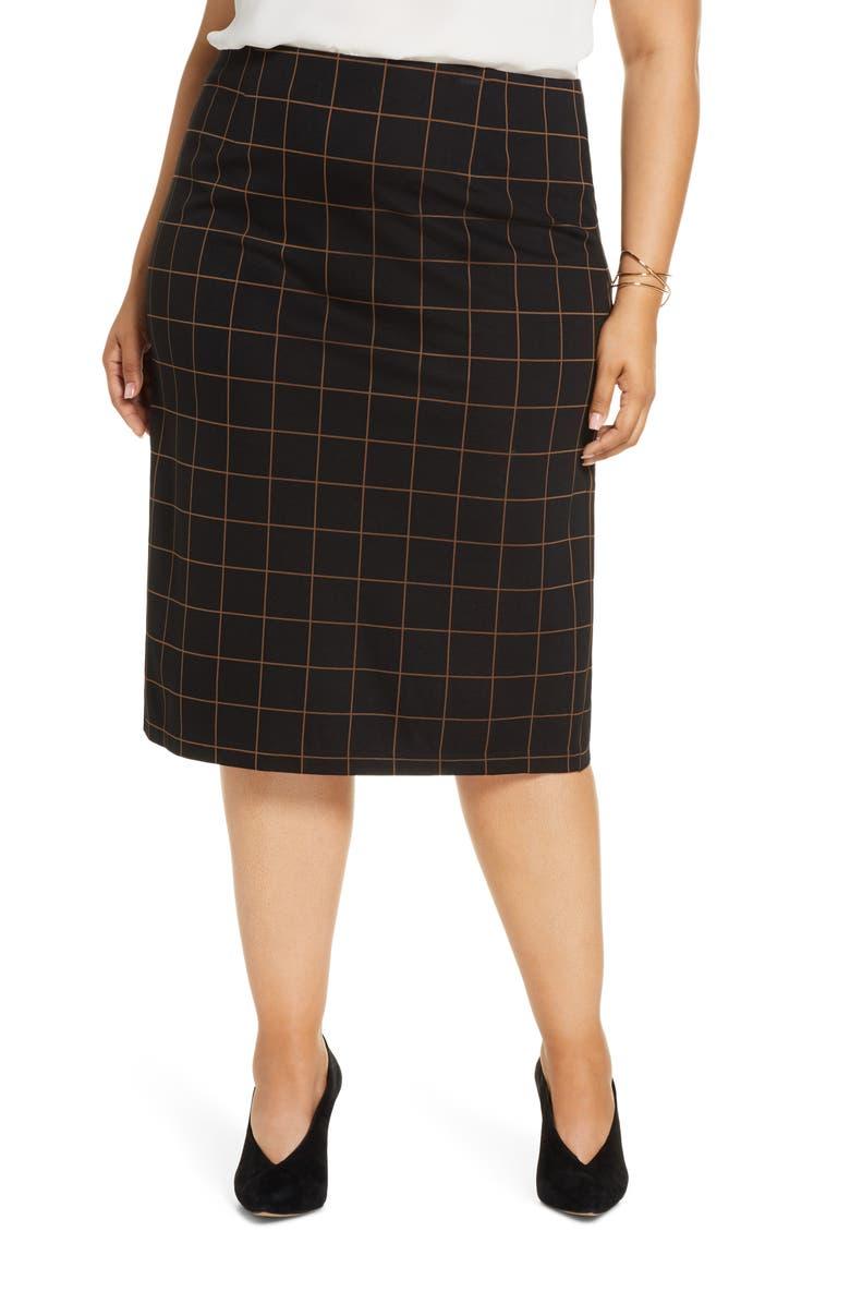 HALOGEN<SUP>®</SUP> Plaid Ponte Skirt, Main, color, BLACK WINDOWPANE