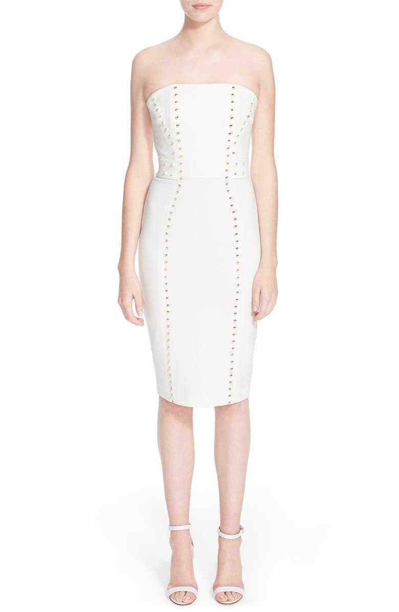 VERSACE COLLECTION Studded Strapless Sheath Dress, Main, color, 101
