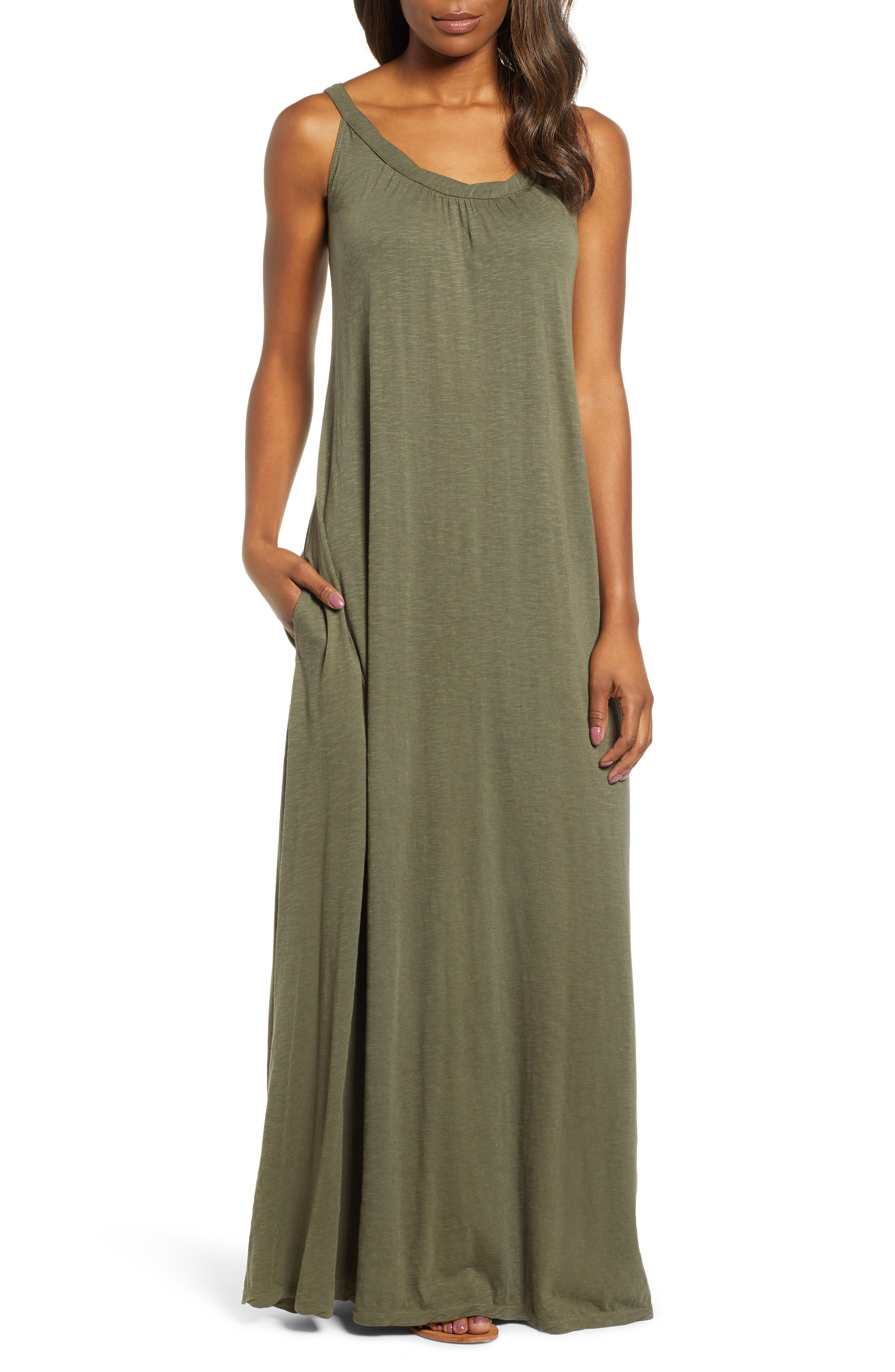 Petite Caslon Twist Neck Maxi Dress, Green