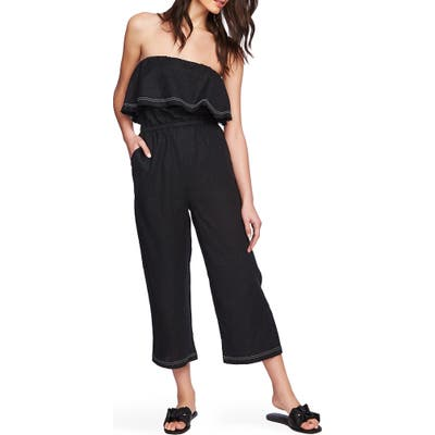 1.state Off The Shoulder Ruffle Jumpsuit, Black