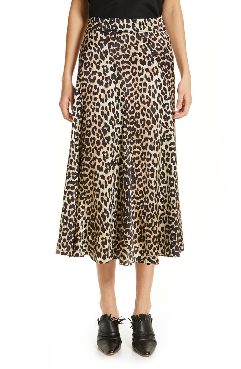 GANNI Leopard Print Stretch Silk Satin Midi Skirt, Main, color, 200