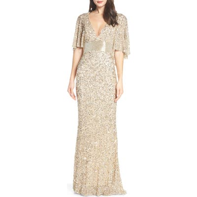 MAC Duggal Beaded Capelet Sleeve Evening Dress
