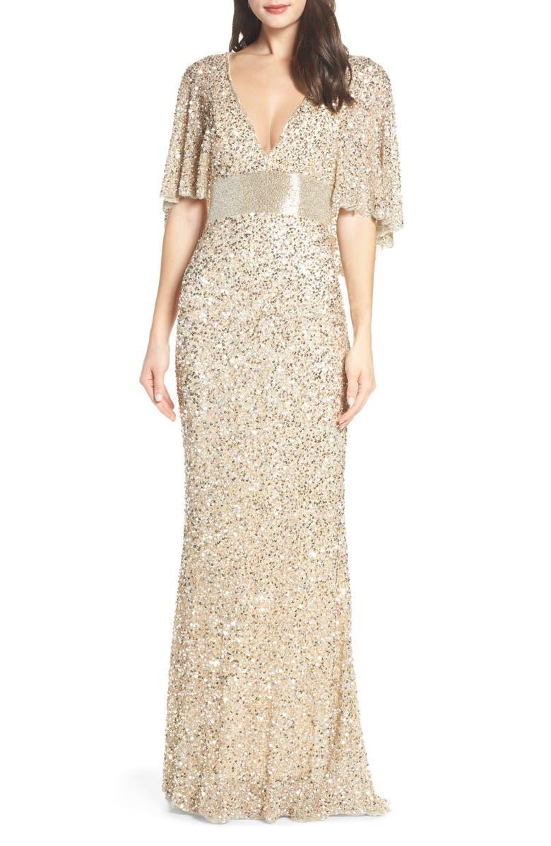MAC DUGGAL Beaded Capelet Sleeve Column Gown, Main, color, NUDE/ GOLD