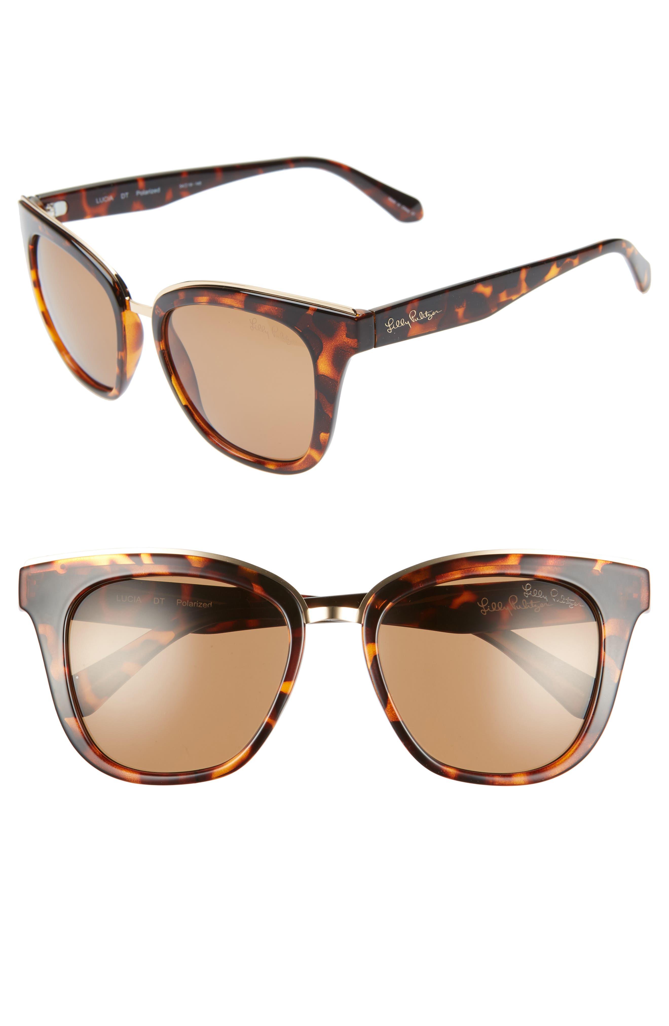 Lilly Pulitzer Lucia 5m Cat Eye Sunglasses - Dark Tortoise/ Gold Mirror