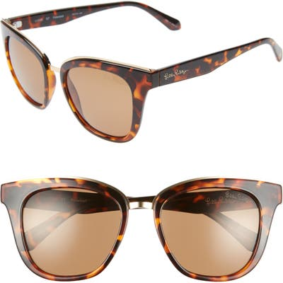 Lilly Pulitzer Lucia 5m Cat Eye Sunglasses - Dark Tortoise/ Gold Mirror