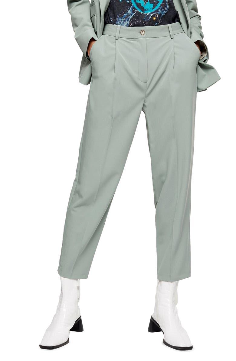 TOPSHOP Kiki Peg Trousers, Main, color, GREEN