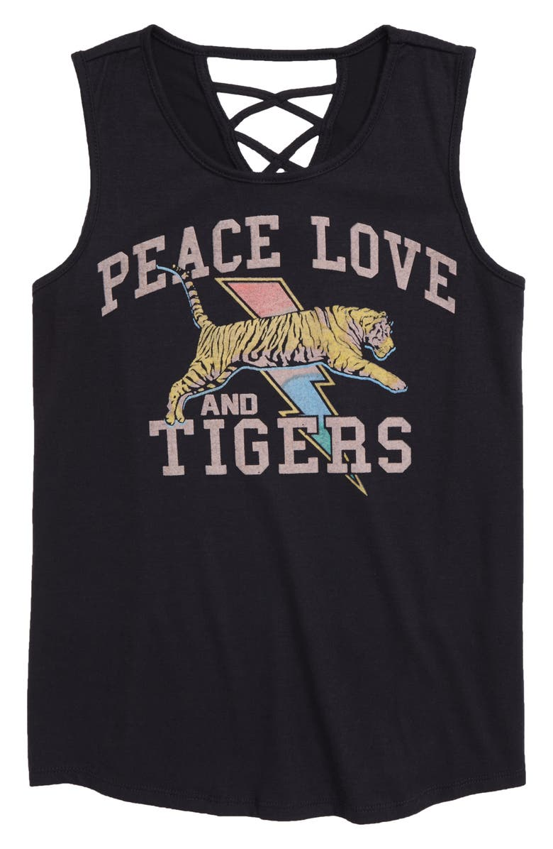 TEN SIXTY SHERMAN Peace Love Tigers Graphic Tank, Main, color, BLACK