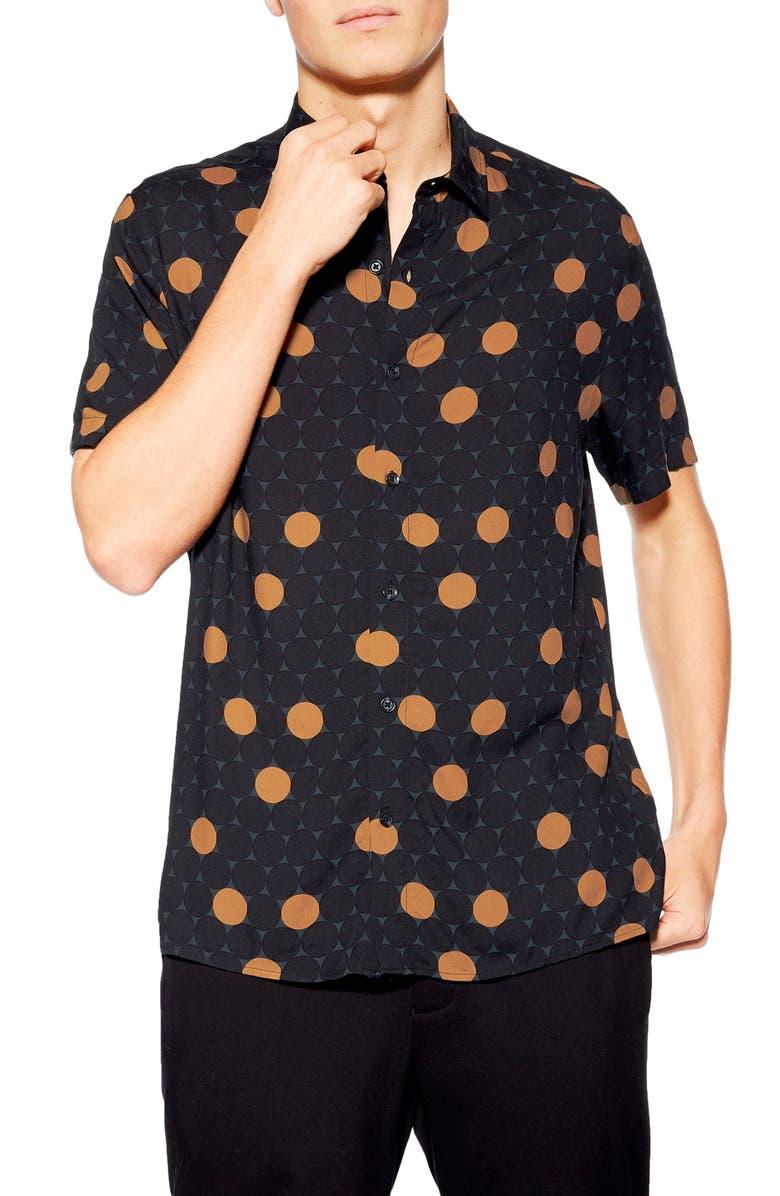 TOPMAN Polka Dot Slim Fit Woven Shirt, Main, color, 001