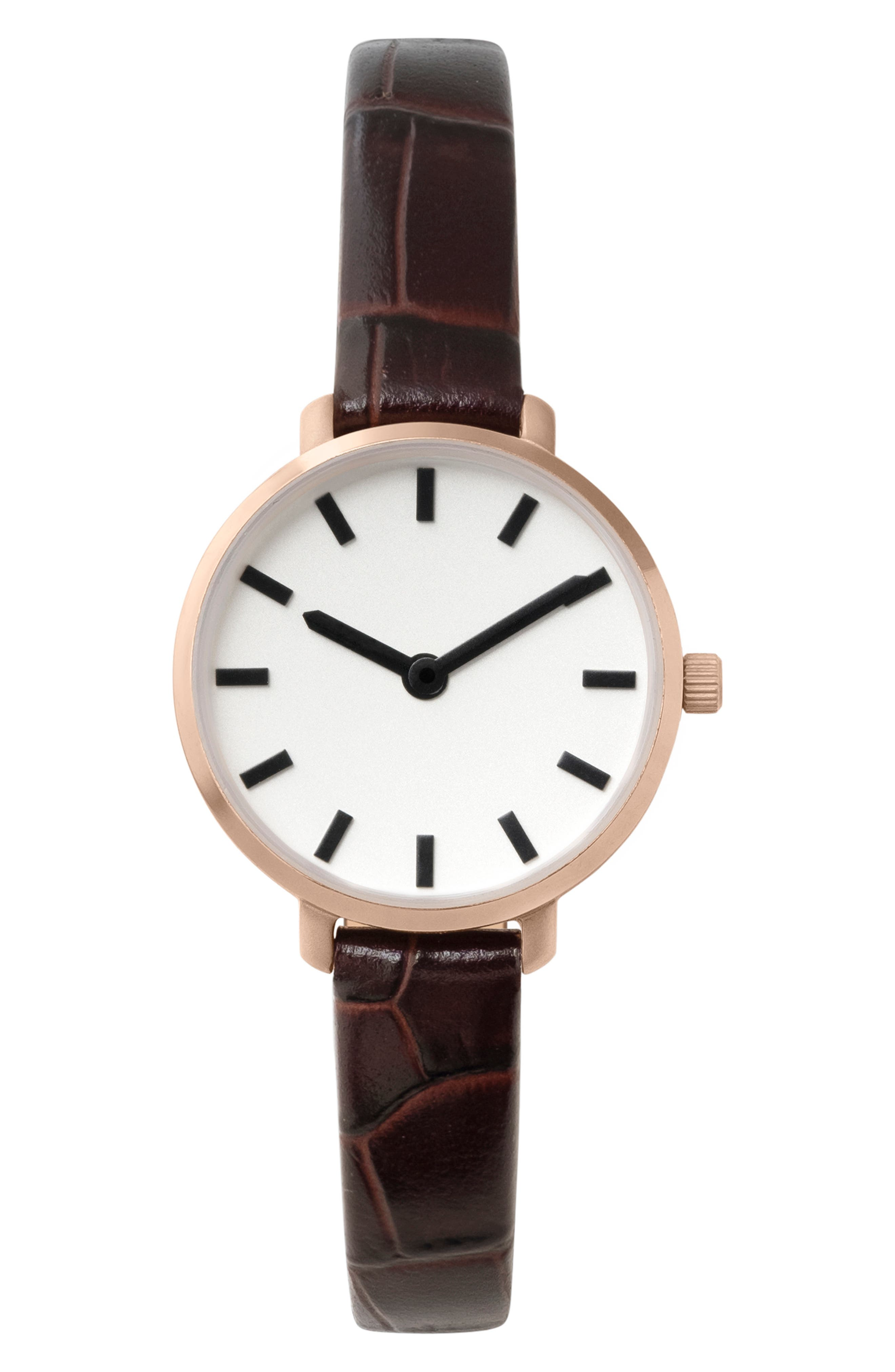 Beverly Croc Embossed Leather Strap Watch
