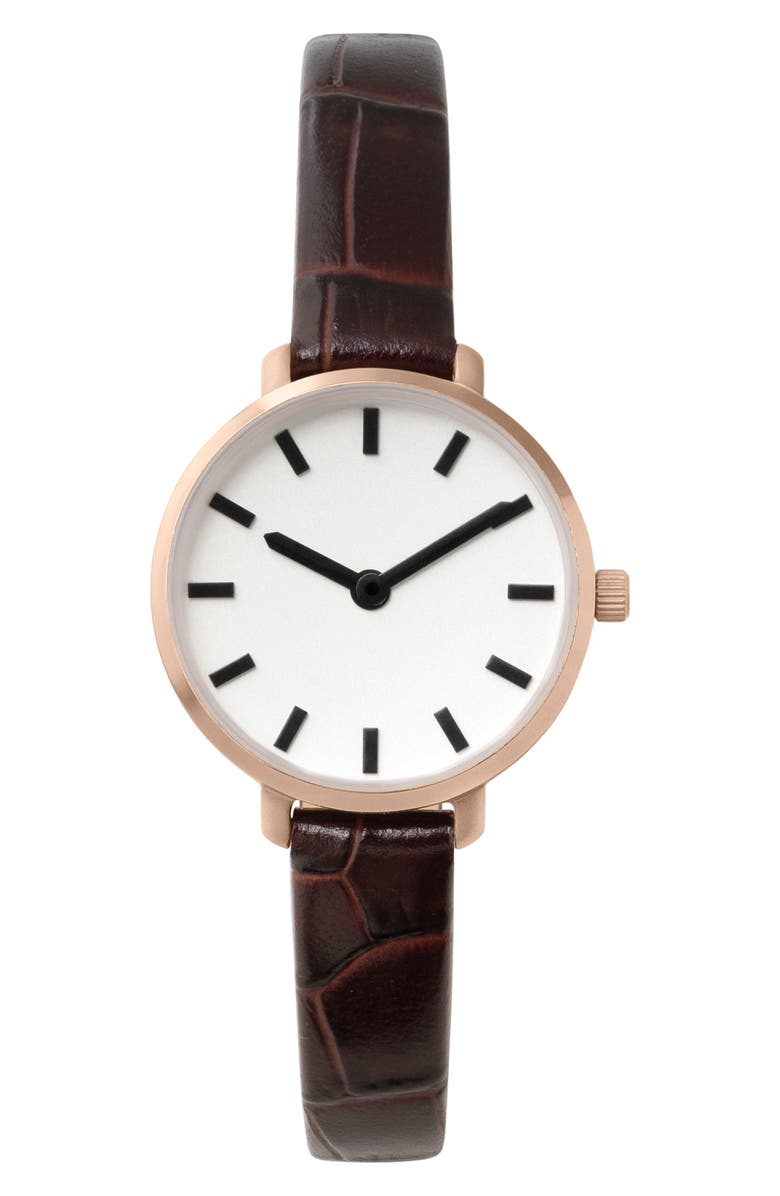 BREDA Beverly Croc Embossed Leather Strap Watch, 25mm | Nordstrom