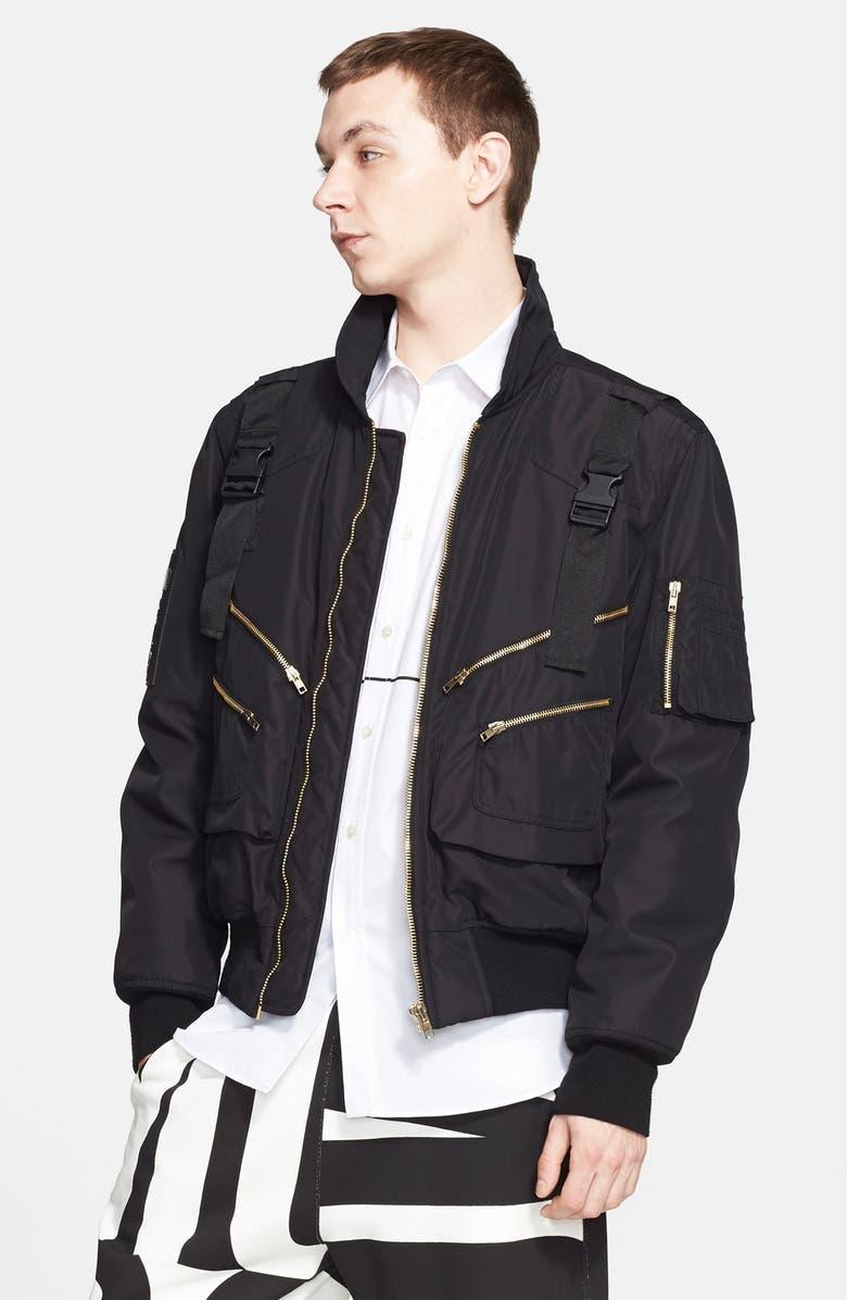 MOSCHINO Bomber Jacket, Main, color, 001