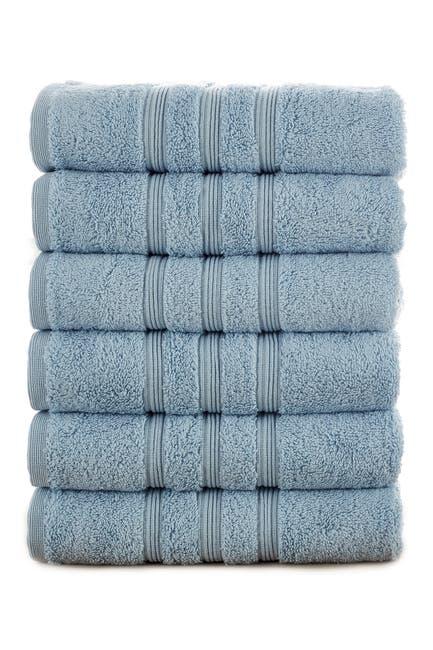 Image of Modern Threads Manor Ridge Turkish Cotton 700 GSM Hand Towel - Set of 6 - Blue