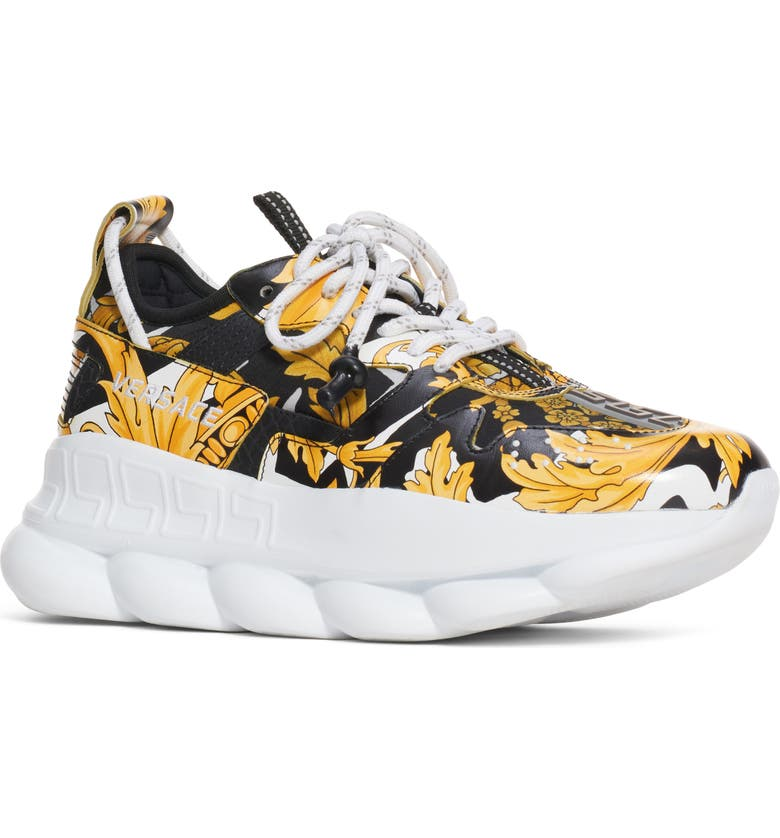 VERSACE Chain Reaction Sneaker, Main, color, WHITE/ BLACK/ GOLD