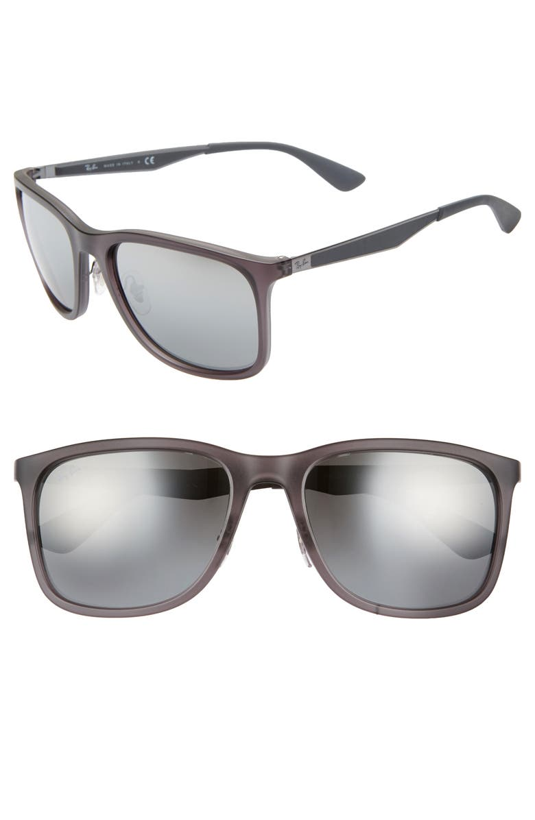 RAY-BAN 58mm Square Sunglasses, Main, color, MATTE TRANSPARENT GREY